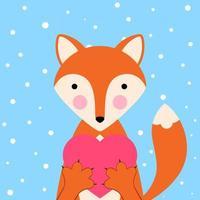 Volpe divertente e sveglia dell'illustrazione di giorno di S. Valentino del fumetto. Icona sentito. vettore
