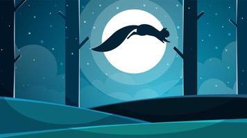 Illustrazione di scoiattolo Cartone animato paesaggio di carta. vettore