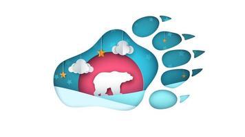 Illustrazione dell'orso Cartone animato paesaggio di carta. vettore