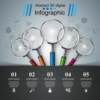 Infografica di affari. Icona Lente.