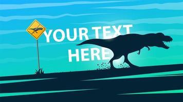 Cartone animato paesaggio con dinosauro vettore