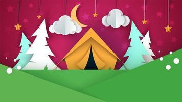 Cartone animato paesaggio di carta. Tenda, albero di Natale, nuvola, cielo, llustration stella.