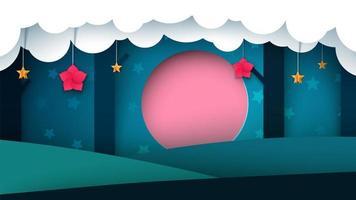 Foresta della carta di notte - illustrazione di carta.