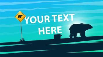 Illustrazione dell'orso Cartone animato paesaggio di carta.