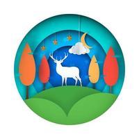 Cartone animato paesaggio di carta. Illustrazione di cervi. vettore