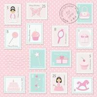 Set di francobolli di compleanno per ragazze. vettore