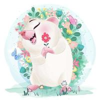 Istrice sorridente sveglio con il fiore in acquerello