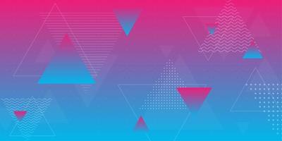 Sfumatura rosa e blu con forme triangolari vettore
