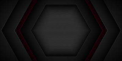 Disegno di forma esagonale sovrapposta astratto nero vettore