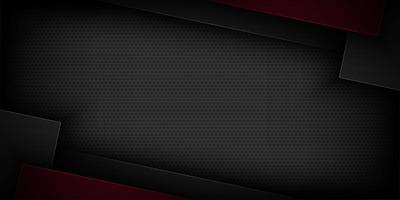 Design in carta taglio geometrico sovrapposto nero e rosso scuro vettore