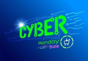 Banner di vendita di Cyber Monday di carattere luminoso tech vettore