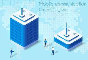 Design isometrico della tecnologia di comunicazione mobile