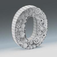 Numero industriale zero design 3d