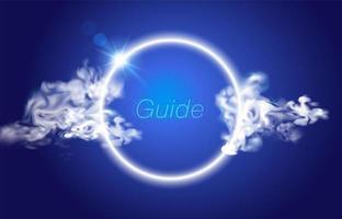 Cerchio di fumo su sfondo blu vettore