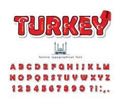 Carattere del fumetto di Turchia con elementi decorativi vettore