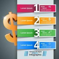 Infografica di affari. Dollaro, icona dei soldi. vettore