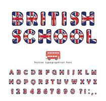 Carattere di scuola britannica. Colori della bandiera nazionale del Regno Unito Gran Bretagna vettore