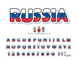 Fonte tipografica del fumetto della Russia con i colori russi della bandiera nazionale. vettore