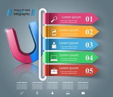Icona realistica del magnete. Infografica di affari.