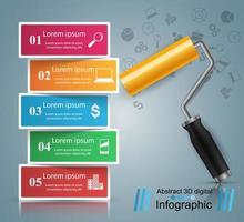Icona di vernice a rulli. Infografica di affari. vettore