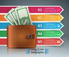Infografica di affari. Dollaro, icona del portafoglio. vettore