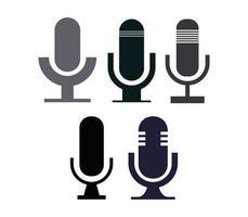 Icona del microfono impostata su sfondo bianco vettore