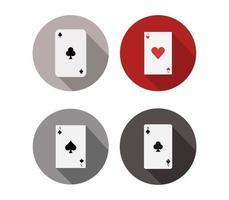 Set di icone di carte da poker su uno sfondo bianco vettore