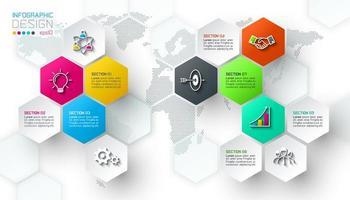 Barra infographic di forma delle etichette della rete di esagono di affari.
