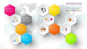Barra infographic di forma delle etichette della rete di esagono di affari. vettore