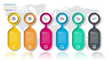 Bar etichette infografica con 6 passaggi.