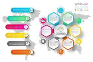 Barra infographic dei cerchi di forma delle etichette di esagono di affari.