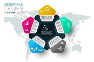 Opzioni del passo di affari e modello astratto di opzioni di numero di infographics. vettore