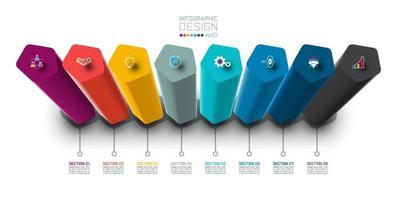 Disegno dell'etichetta di Infographic di vettore con progettazione delle colonne del pentagono.