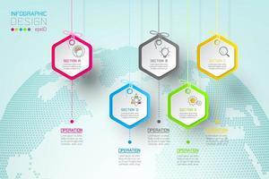 Barra infographic dei gruppi di forma delle etichette di esagono di affari.