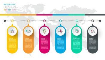 Infografica aziendale con 6 passaggi.