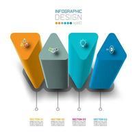 Progettazione dell'etichetta di Infographic di vettore con progettazione delle colonne del triangolo.