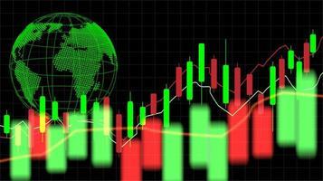 Grafico del grafico del bastone della candela del commercio di investimento del mercato azionario con il globo vettore
