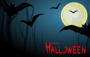 Felice disegno di Halloween con pipistrelli e luna sullo sfondo di notte