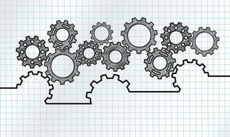 Design del meccanismo di marketing con ingranaggi collegati vettore