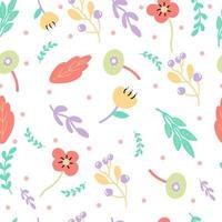 Modello carino di fiori e foglie con colori pastello