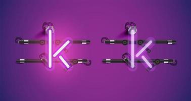 Accensione e spegnimento di caratteri al neon viola luminosi realistici vettore