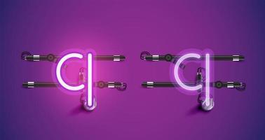 Accensione e spegnimento di caratteri al neon viola luminosi realistici