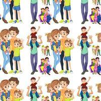 Famiglia senza soluzione di continuità con genitori e figli vettore