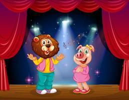 Gli animali si esibiscono sul palco