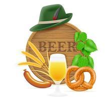 elementi ed oggetti che significano l'illustrazione di vettore di festival della birra più oktoberfest