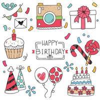 Ornamenti di doodle di buon compleanno vettore
