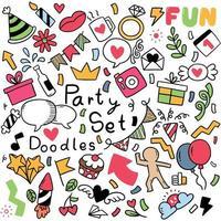 ornamenti del partito doodle disegnato a mano vettore