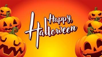 zucca felice halloween sfondo arancione vettore
