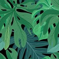 . Sfondo di foglie tropicali vettore