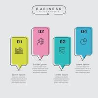 Modello di infographic di affari minimi linea sottile con icone vettore